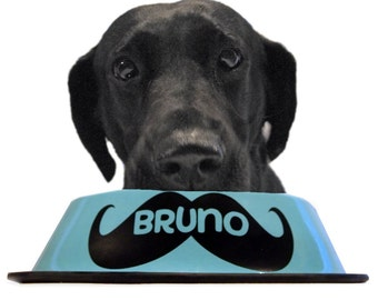 Dog Bowl Decal - MUSTACHE - Personalized - Custom - Name