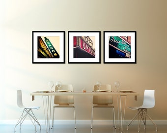 Chicago Print Sets, Uptown, Green Mill, Aragon Ballroom Wall Art  Vintage Neon Sign Photography, Urban Home Decor, Red, Emerald Green, Gold