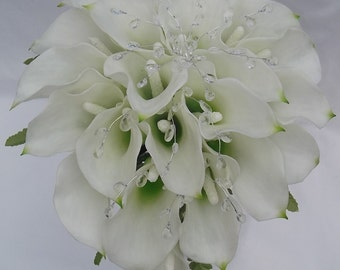 Real Touch Calla Lily and Crystal Gems Wedding Bridal Cascading / Teardrop Bouquet