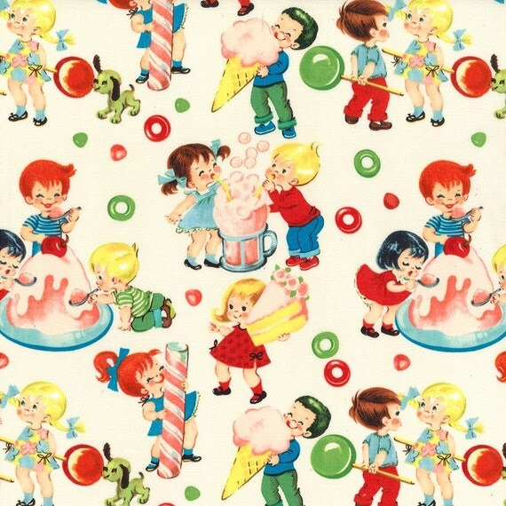 Michael miller 1950 39 s retro fabric candy shop yardage for Retro baby fabric
