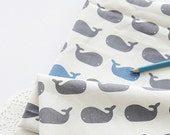 Lovely Gray and blue Whales on cotton, U111