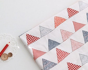 Lovely RED illus flag on Cotton, U086