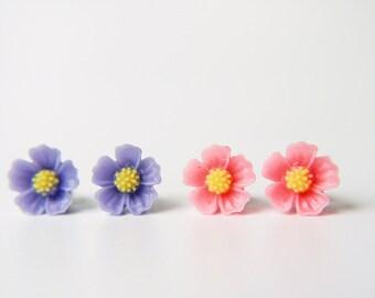 Pink & Purple Violet Flower Titanium Earrings Simple Everyday Children Hypoallergenic Stud Earrings