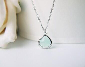 Small Light Mint Green Glass Necklace Matte Silver Sea Foam Green Glass Dainty Pendant Necklace