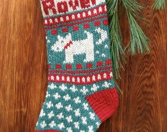 Digital Download Pet DOG Christmas Stocking Knitting Pattern