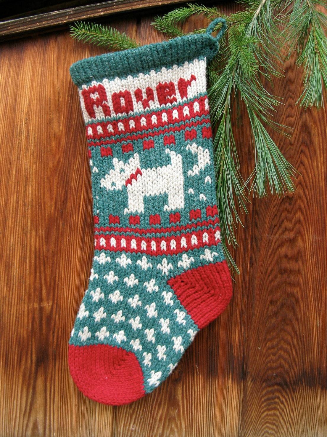 Christmas Stocking Knitting Pattern Circular Needles : Digital download pet dog christmas stocking knitting pattern