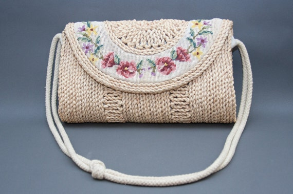 1990s Wicker Woven Floral Needle Point Embroidered Slung Over Purse