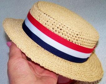 Newborn Sun Hat - Straw Beach Hat - Boater hat - Straw Hat - Girls Sun Hat - Sun Hat - Beach Hat - Ready To Ship In 2 Years Old - Summer Hat