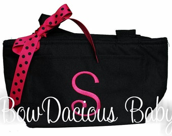 Initial Monogrammed Lunch Bag, Personalized Lunch Bag, Monogrammed Lunch Tote, Personalized Lunch Tote, Gift