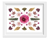 Flowers Collage 8x10. Fine Art Photographic Natural History Print. Scandinavian style. Natural Home Decor. Kitchen
