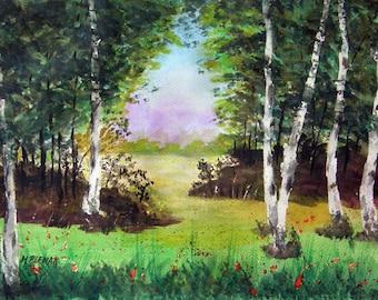Solitude #2 - Original Landscape Watercolor Painting