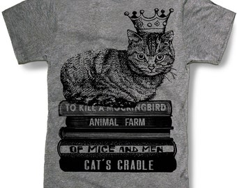 CAT SHIRT -- Crown Cat King sitting on Books Mens t shirt -- 8 color options -- sizes sm med lg xl xxl 3xl 4xl 5xl skip n whistle