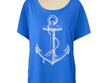 Womens ANCHOR T SHIRT - Dolman sleeve slouchy off the shoulder shirt (Many color choices) sm, med, lg, xl, xxl skip n whistle