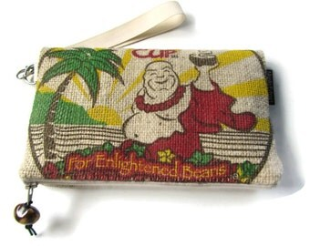 MTO. Burlap Foldover Clutch & Wristlet with Magnetic Snap. Repurposed Buddha's Cup Coffee Bag. Handmade in Hawaii.
