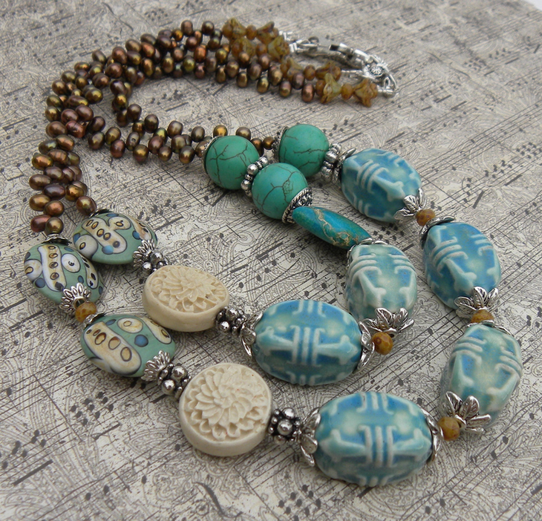 Ceramic Bead Beads: St. Kitts Ceramic Bead Turquoise Handmade By