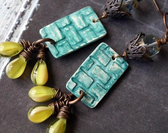 Unlisted - Polymer Clay Earrings - Teal and Olive Green - Textured Earrings - Hipster - Bead Soup Jewelry