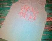 LARGE MONOGRAM. Ladies Monogram Loose Tank. Comfort colors. Summer Beach Bride Bachelorette Greek Sorority. 3 Letter heat transfer monogram