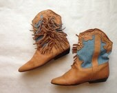 HOARDER's DELIGHT --To Be Light-- SALE. Pee Wee Fringe & Denim .Leather short cowboy boots with studs galore .Zodiac womens sz 7