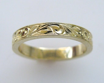 3mm Hand Engraved Wedding/Anniversary Band Vine and Leaf in 14k yellow gold with Milgrain Edge