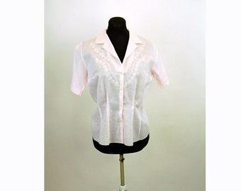 1950s cotton blouse, cotton shirt, embroidered blouse, pink blouse, appliqued blouse, Size M/L