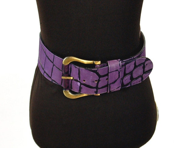 1980s belt purple belt leather belt wide belt size m hip