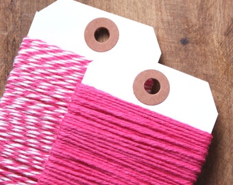 Hot Pink Bakers Twine, Pink Cotton Twine, Pink Gift Wrap, Baker's Twine, Packaging, Bakers String, Gift Wrapping, Cotton String (15 yds)