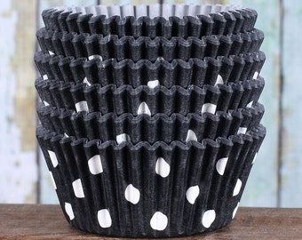 Black Polka Dot Cupcake Liners, Black Cupcake Wrappers, Halloween Cupcake Cases, Stay Bright Greaseproof Cupcake Liners, Baking Cups (50)