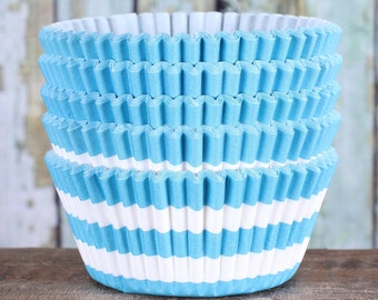 Aqua Striped Cupcake Liners, Aqua Stripe Cupcake Wrappers, Aqua Cupcake Cases, Stay Bright Greaseproof Cupcake Liners, Aqua Baking Cups (50)