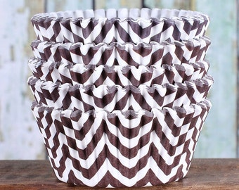 Brown Chevron Cupcake Liners, Brown Cupcake Wrappers, Brown Cupcake Cases, Stay Bright Greaseproof Cupcake Liners, Brown Baking Cups (50)