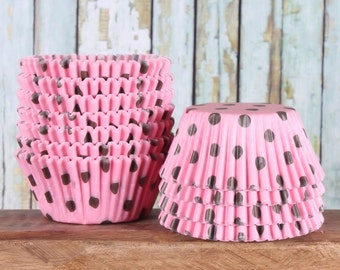 Light Pink Cupcake Liners with Brown Polka Dots, Light Pink Cupcake Wrappers,  Baby Shower Cupcake Liners, Light Pink Baking Cups (50)