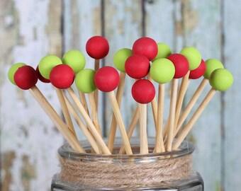 Retro Christmas Lollipop Sticks, Rock Candy Sticks, Cake Pops Sticks, Marshmallow Pop Sticks, Christmas Lollipops, Wooden Sticks (12)