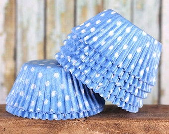 Light Blue Polka Dot Cupcake Liners, Blue Cupcake Liners, Cupcake Cups, Baby Shower Cupcake Liners, Baking Cups, Cupcake Wrappers (50)