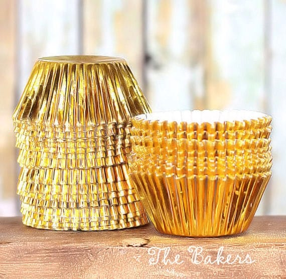 Mini Gold Foil Cupcake Liners, Mini Foil Baking Cups, Mini Gold Cupcake Wrappers, Mini Candy Cups, Mini Gold Liners (100 count)