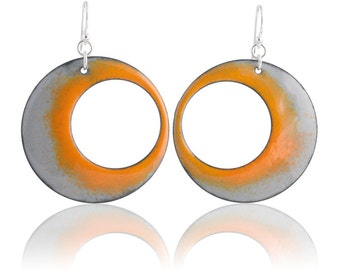 Eclipse Orange Enamel Earrings