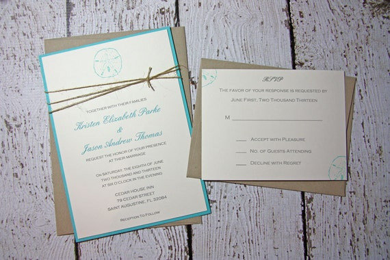 Summer Wedding Invitations: Items Similar To SAMPLE Sand Dollar Wedding Invitations
