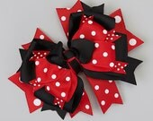REd & Black Polka Dot Med Bow