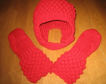 Child Hat And Mitts, Red Hat and Mitts, Toddler Red Hat and Mitts, Red Toddler Mitts, Red Child Hat, Free Shipping With Another Purchase