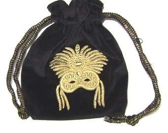 Con-Goer: Gold Mardi Gras Mask on Black Cotton Velvet Drawstring Pouch - Tarot, Oracle, Runes, Gaming Dice, Anything