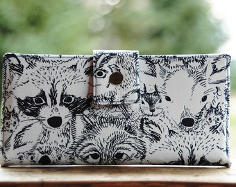 Handmade vegan womens wallet in animal faces