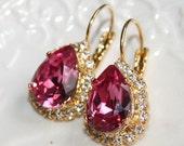 Fuchsia Pink Statement Teardrop Earrings, Swarovski Raspberry Pink 14k Gold plated leverback Rhinestone Earrings, Cocktail Luxury Jewelry