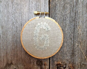 """3"""" Letter G Embroidered Hoop Initial or Monogram"""