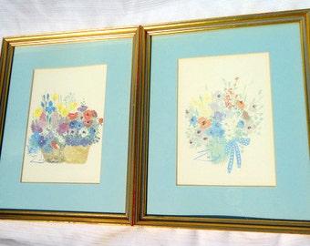 Set of Two Vintage Floral Watercolor Framed Art Signed