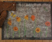 Primitive Flowers Floor Cloth- Made to order