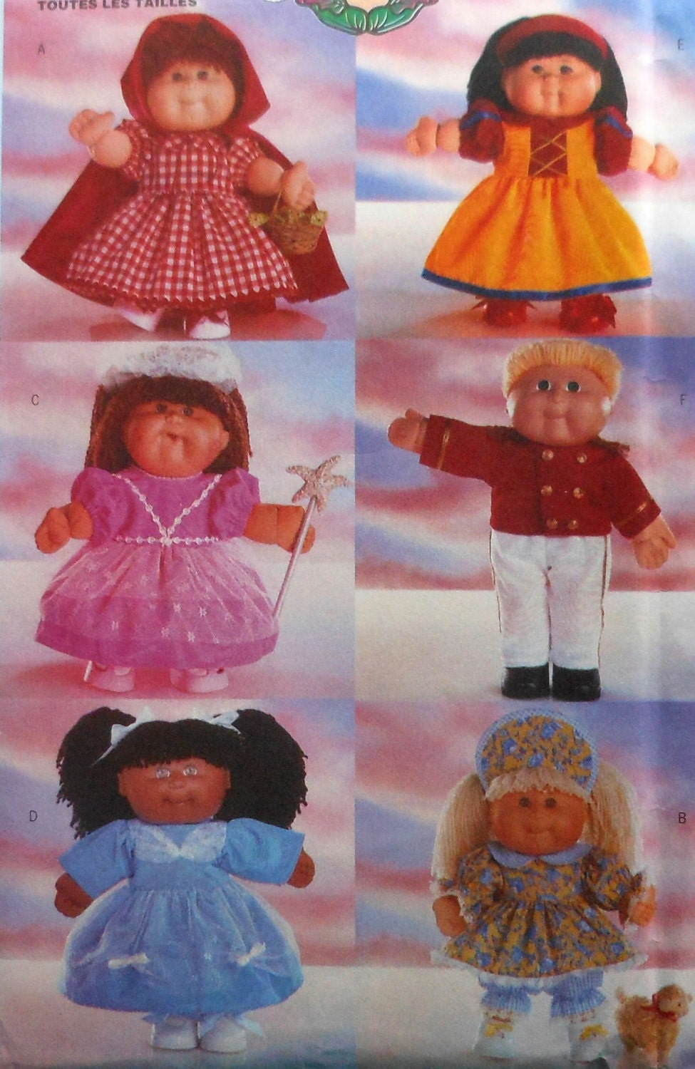 Knitting Pattern For Cabbage Patch Doll Clothes : Cabbage Patch Doll Costumes Sewing Pattern UNCUT Butterick