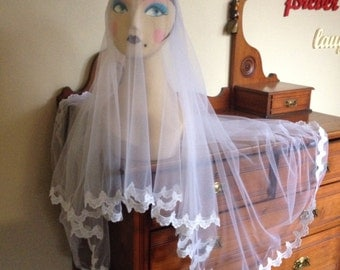 Jennifer lace edged double layer veil, Shoulder elbow fingertip knee length. Custom made wedding bride Italian Tulle.