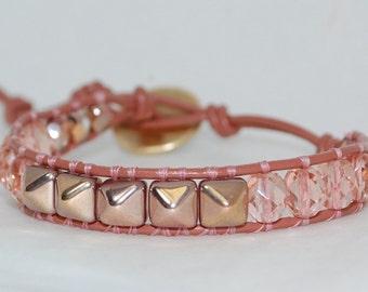 Neural Peach Czech Glass and Polished Czech Glass Gold/Peach Pyramid Stud Bead Single Wrap Leather Bracelet