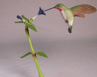 Open-winged Broad-tailed Hummingbird No.4 Hand Carved Wooden Bird