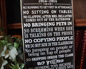 12x24 personalized custom Class Rules, Create your own Teacher Gift