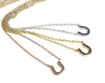 Tiny Horseshoe Necklace - Polished Sterling Silver, Rose Gold Vermeil or Gold Vermeil- Sarah Jessica Parker, SJP