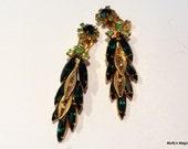 Verified Juliana Green Rhinestone Earrings Filigree Leaf